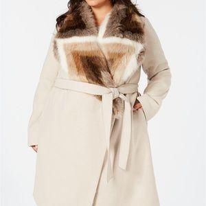 New Alfani Faux Fur Collar Belted Oversize Coat